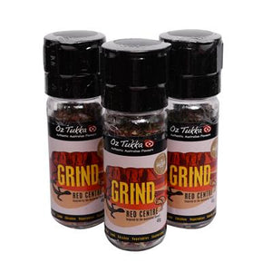 OZ TUKKA PRODUCTS - RED CENTRE GRINDER - GOURMET SPICE GRINDERS 50g