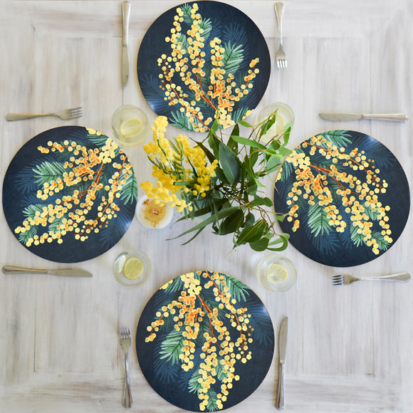 Banksia Blue - Australian Native Table Placemats - Wattle Flower
