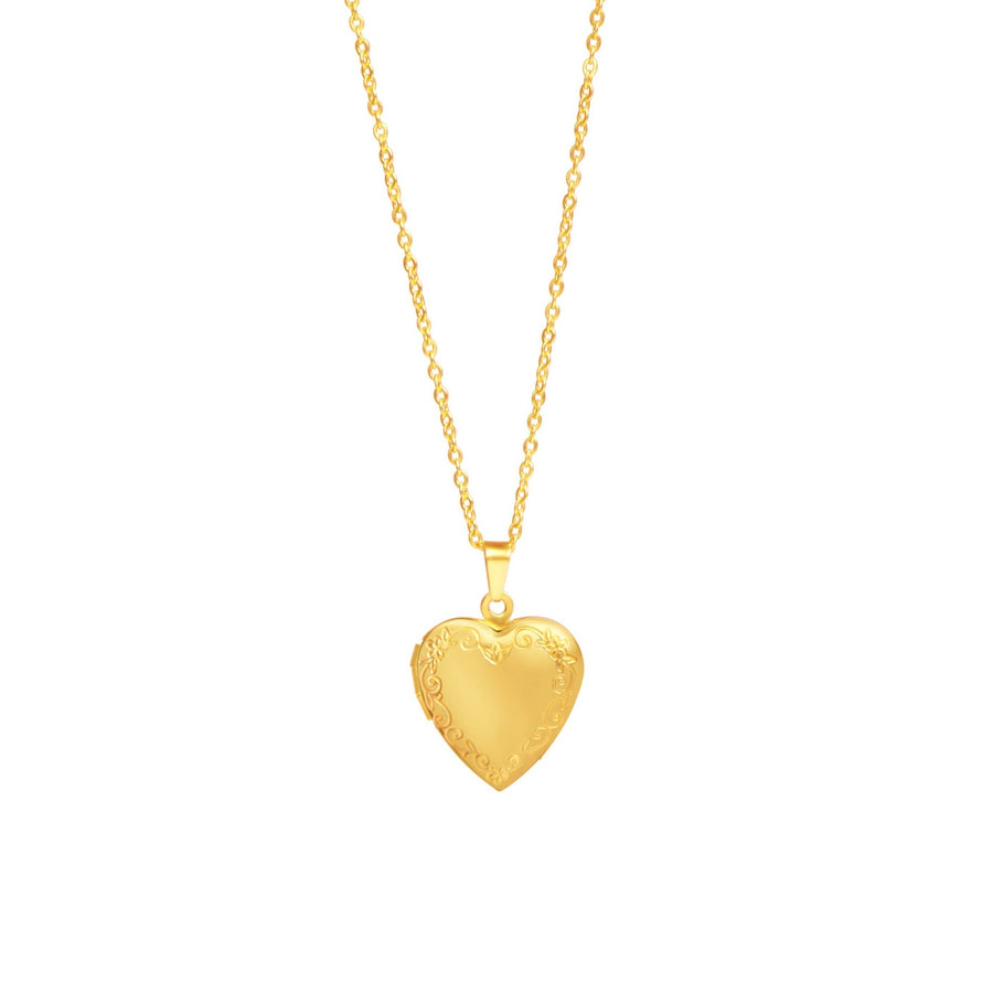 Gold Floral Vintage Heart Locket Necklace