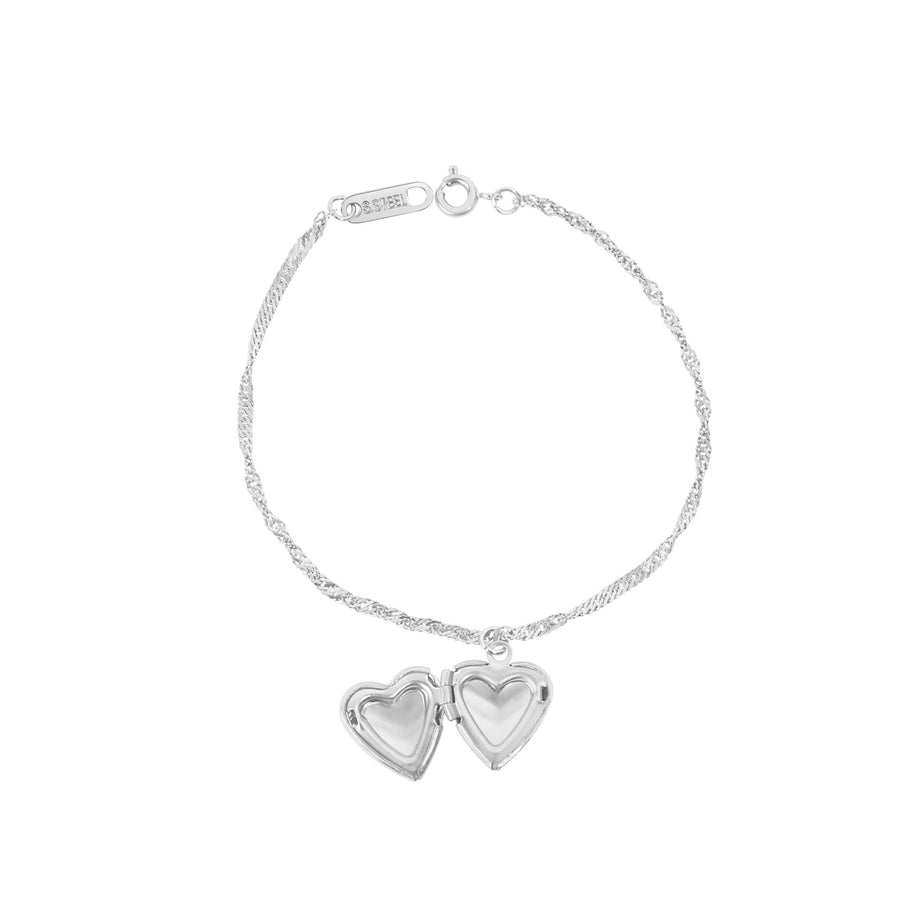 Silver Custom Heart Locket Bracelet