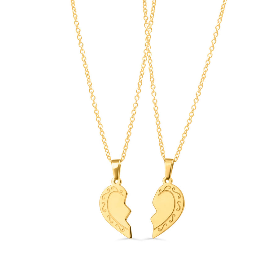 Vintage Initial Broken Heart Necklace Set
