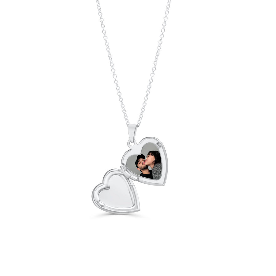 Silver Custom Heart Locket Necklace