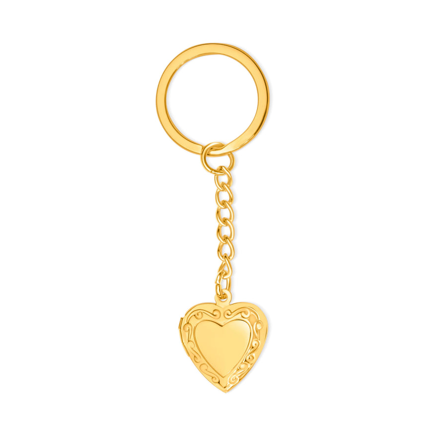 Gold Vintage Heart Locket Keychain