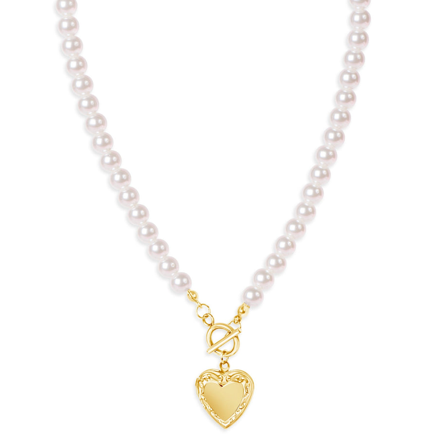 Arial Pearl Locket Necklace