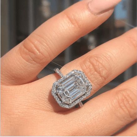 Flashy Emerald Cut Halo Engagement Ring