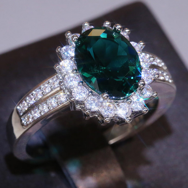 Malachite Silver-Petal Fashion Ring
