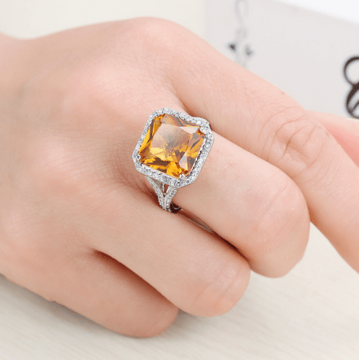 Square Champagne Shank Engagement Ring