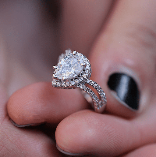 Teardrop Double Band Engagement Ring