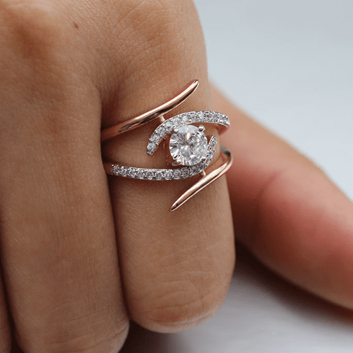 Rose Gold Round Bypass Ring