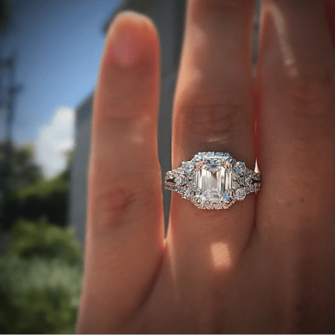 Emerald Cut Studded Engagement Ring