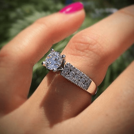 Romantic Four Claw Solitaire Ring