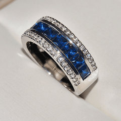 Sapphire Inlaid Eternity Wedding Ring