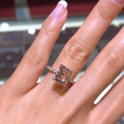 Classic Rose Gold Emerald Cut Promise Ring