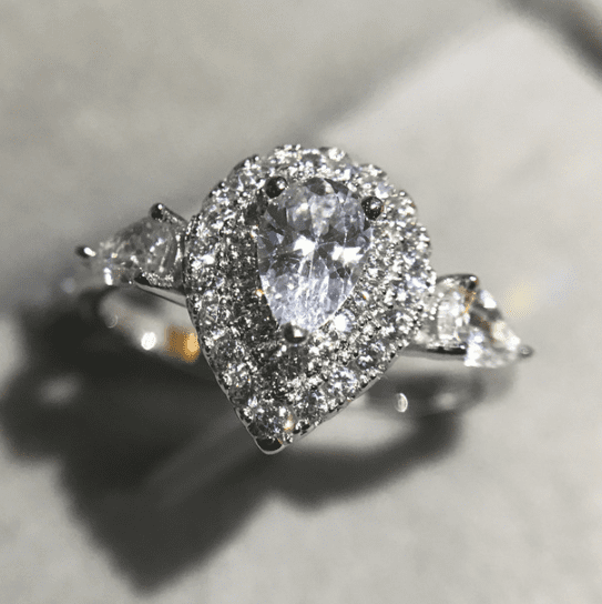 Pear-Shaped Double Halo Ring