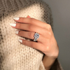 Image of Beaded Pavé Square Gem Ring