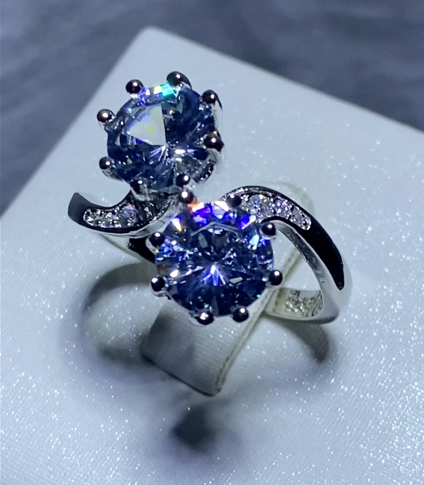Dazzling Bloom Double Stone Ring