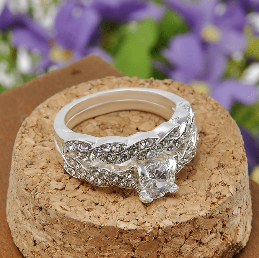 Sparkling White Sapphire Double Ring