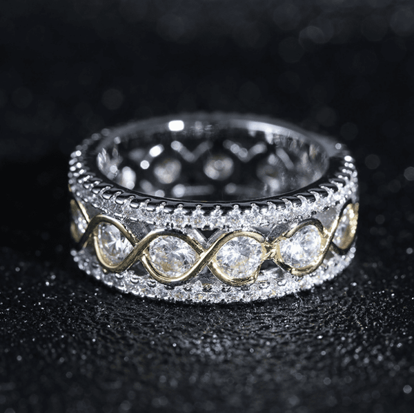 "Sparkling ""DNA"" Studded Wedding Ring"