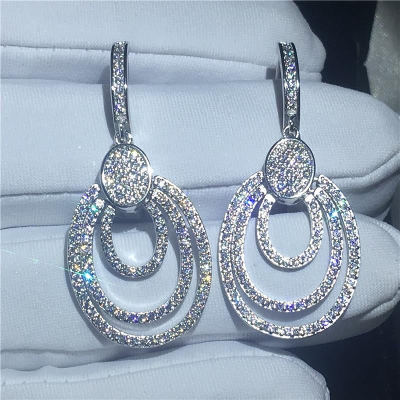 925 Sterling Silver Studded Dangle Women's Earrings