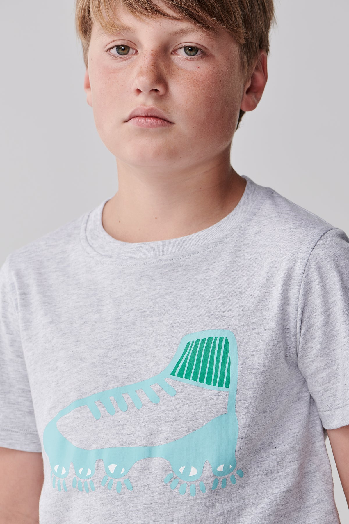Youth Boot T Shirt - Grey Marle