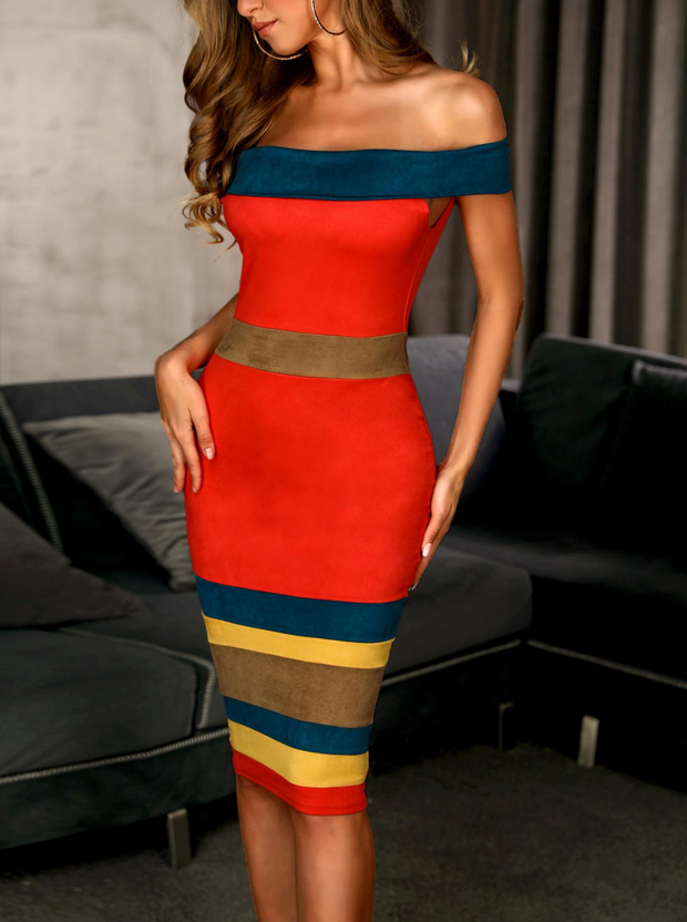 Off Shoulder Colorblock Insert Bodycon Dress
