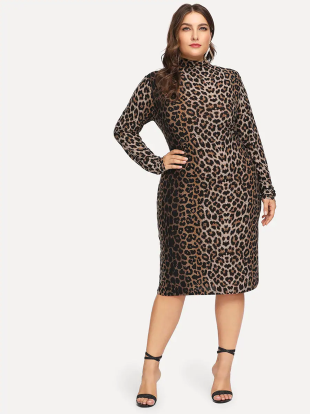 Plus Mock-Neck Leopard Print Dress