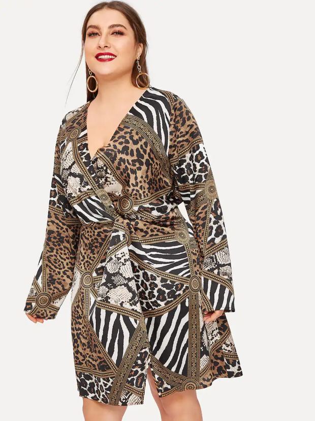 Plus Mixed Animal Print Twist Front Surplice Wrap Dress