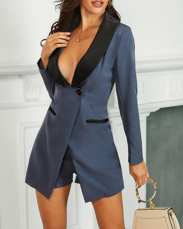 Long Sleeve Colorblock Buttoned Blazer Romper