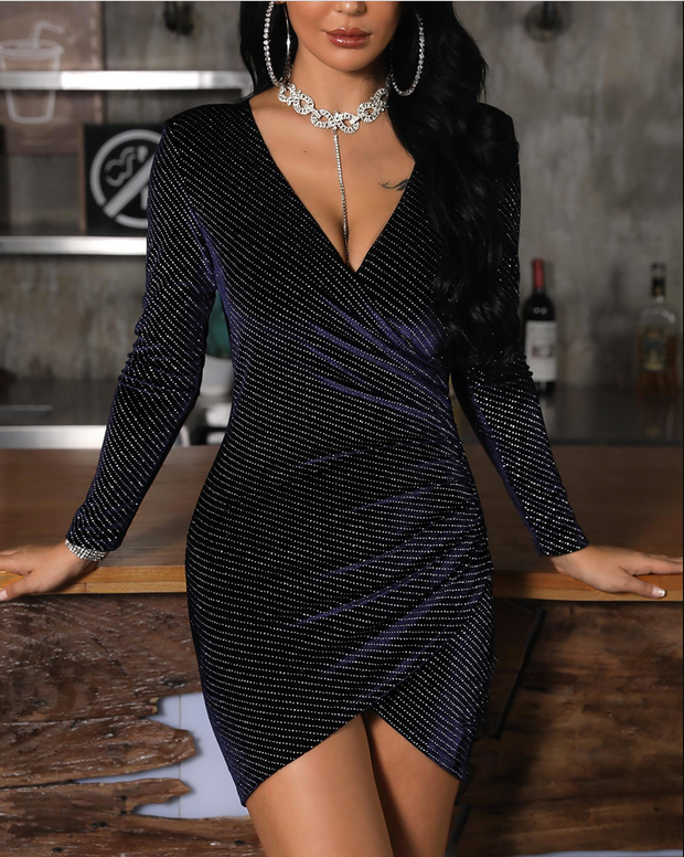 V-Neck Surplice Wrap Glitter Bodycon Dress