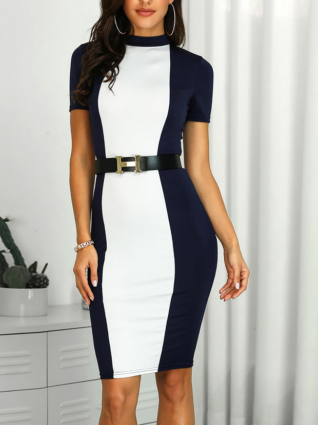 Contrast Color Short Sleeve Bodycon Dress