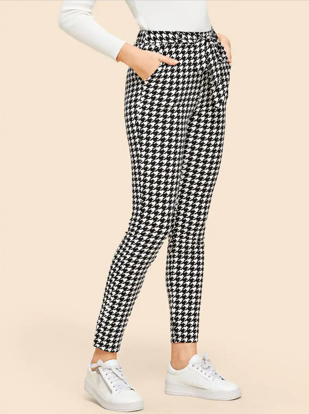 Drawstring Waist Houndstooth Pants