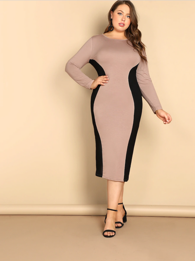 Plus Two Tone Bodycon Dress