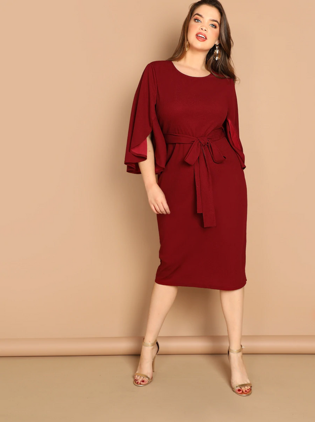 Plus Flutter Sleeve Tie Waist Bodycon Dress