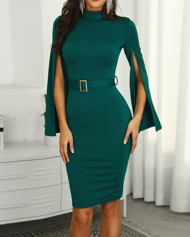 Billowing Split Sleeve Belted Bodycon Dress