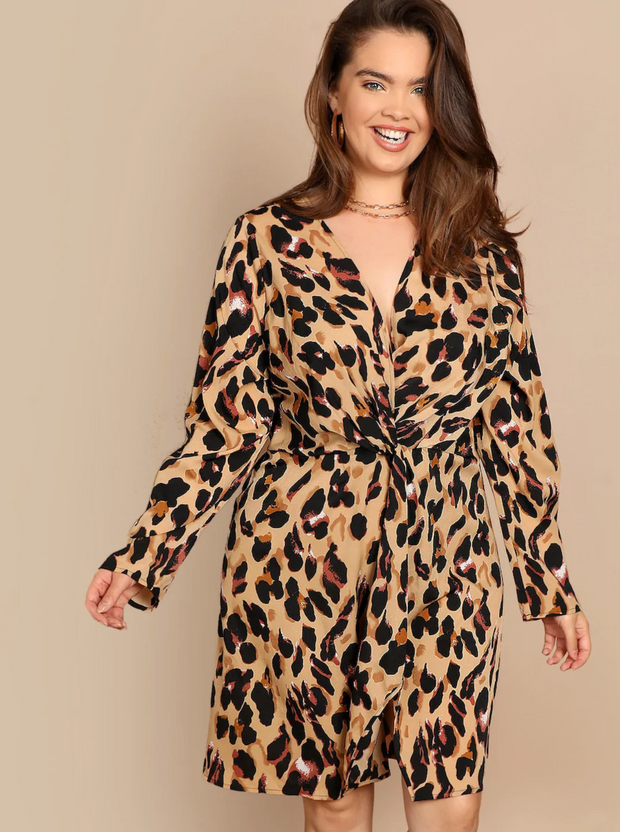 Plus Twist Front Surplice Wrap Leopard Dress
