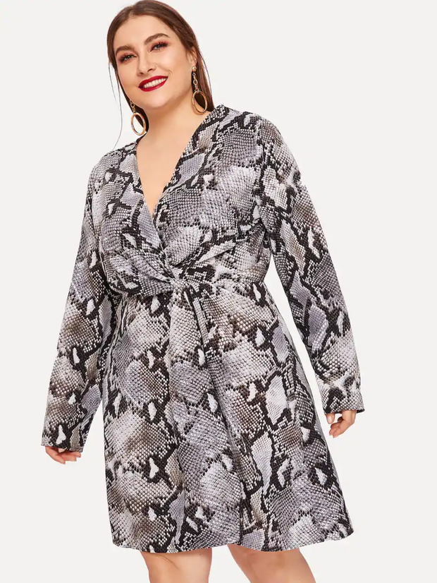 Plus Twist Front Surplice Wrap Snakeskin Dress