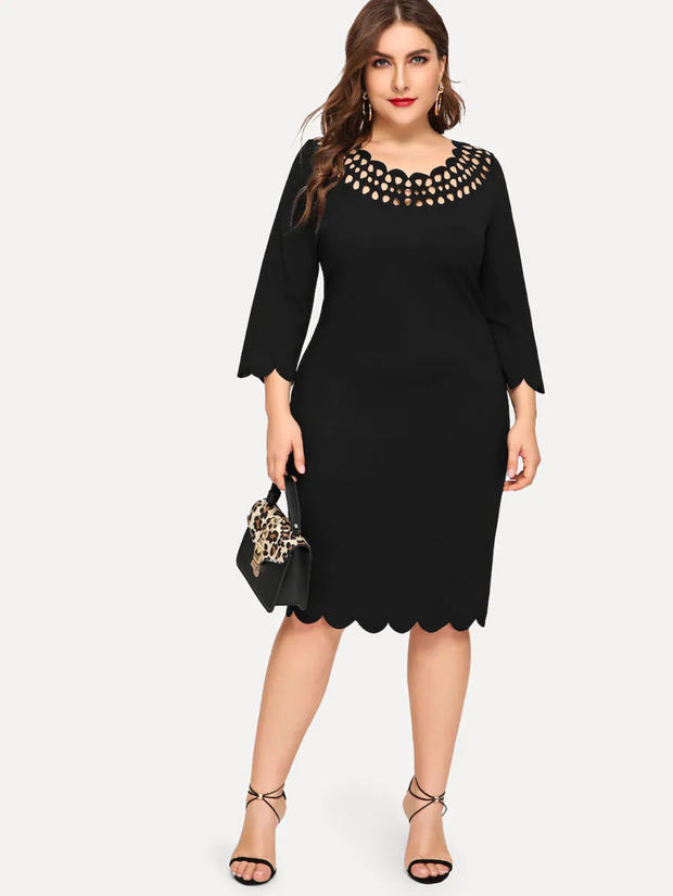 Plus Laser Cut Yoke Scallop Edge Dress