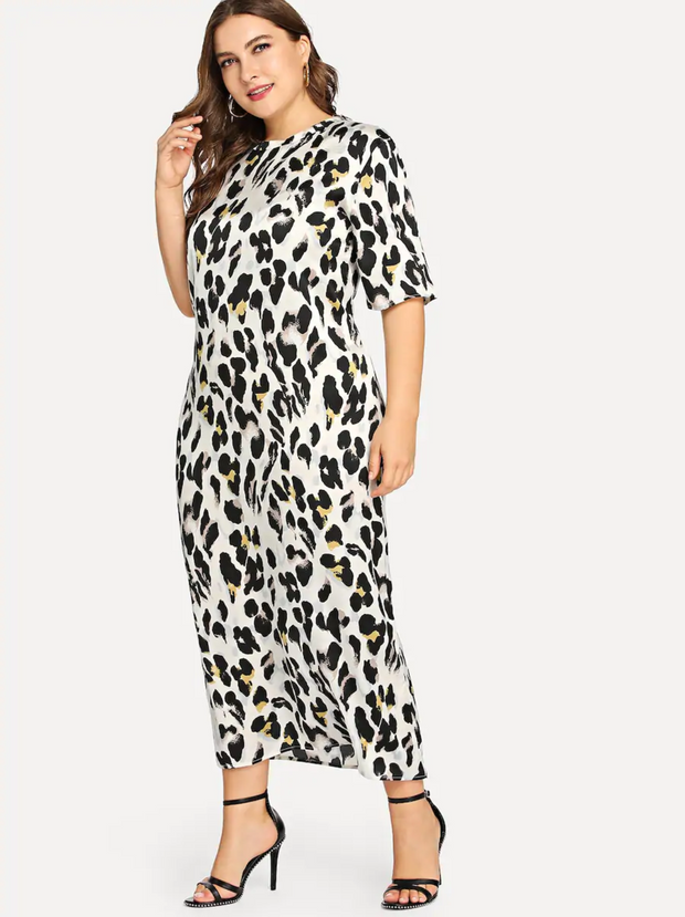 Plus Mock Neck Leopard Dress