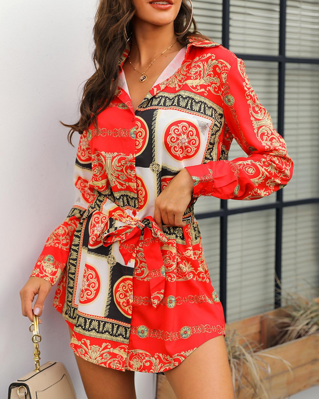 Long Sleeve Ethnic Print Belted Shirt Dress