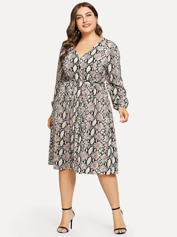 Plus Self Tie Snakeskin Print Dress