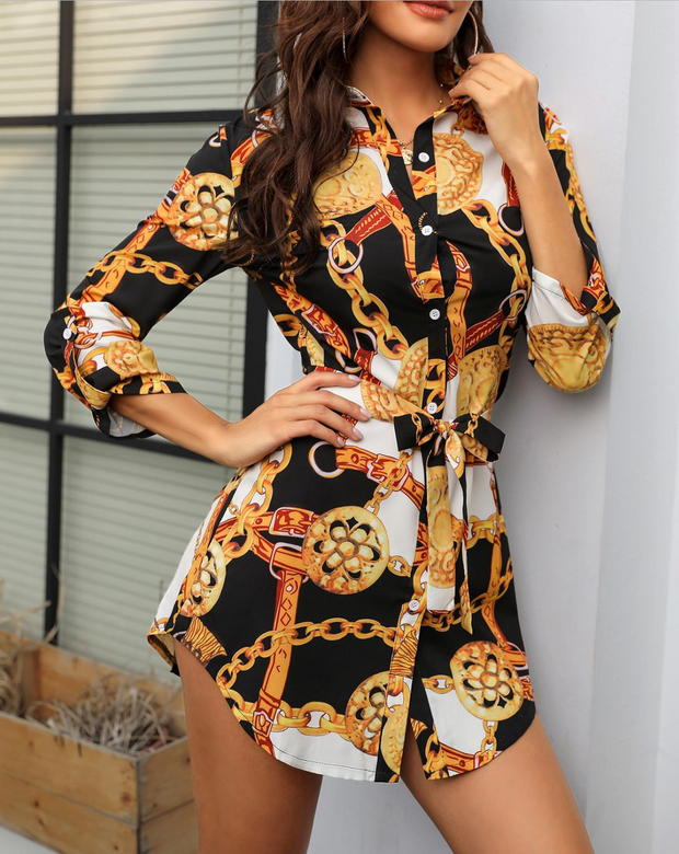 Scarf Print Button Up Belted Shirt Dress