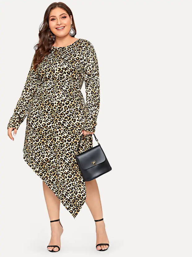 Plus Asymmetrical Hem Twist Detail Leopard Dress