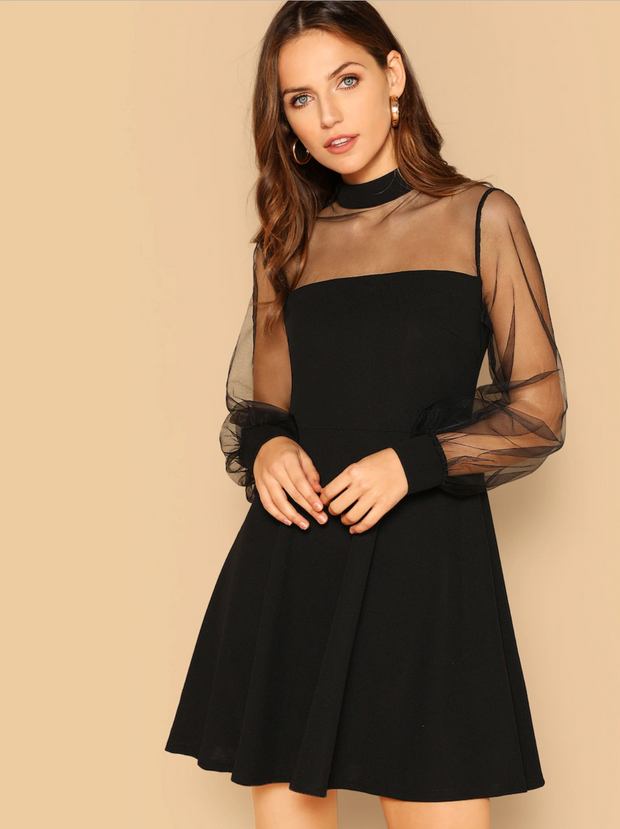 Mesh Contrast Mock-Neck Dress