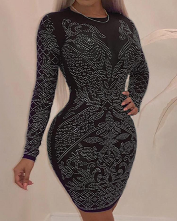 Hot Stamping Long Sleeve Bodycon Dress