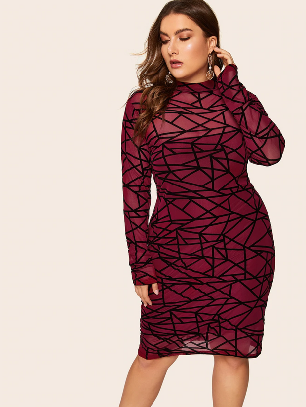 Plus Form Fitting Geo Print Semi Sheer Dress
