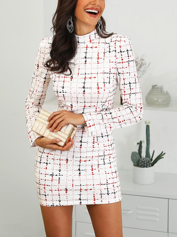 Colorful Plaid Mock Neck Work Dress