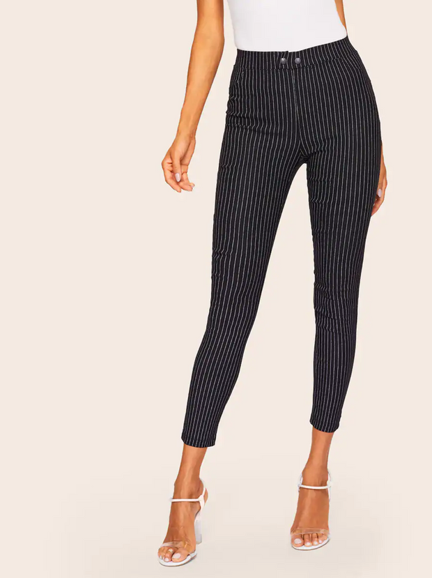 Striped Button Fly Skinny Jeans