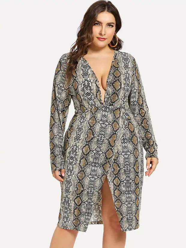 Plus Plunging Neck Snake Print Dress