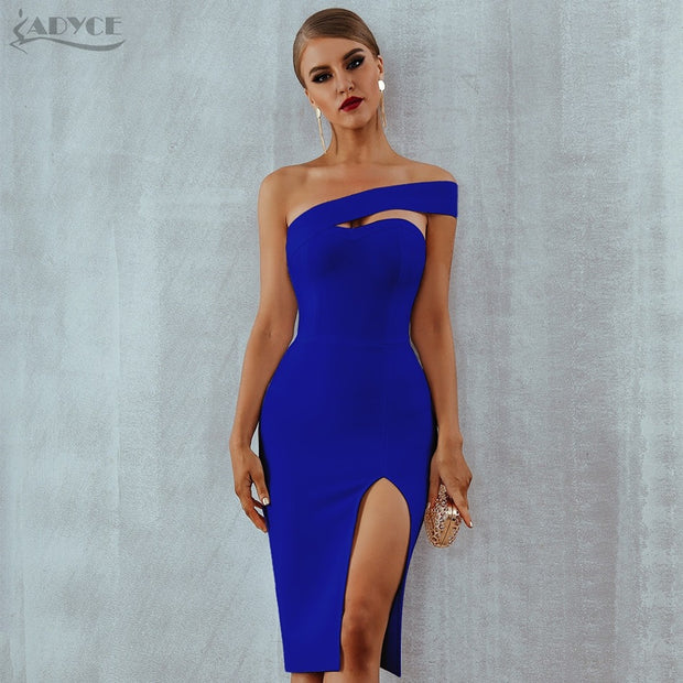 Adyce White Blue Bodycon Bandage Dress