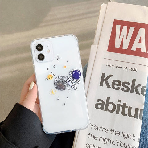 Funda de teléfono de astronauta para iPhone 12 Mini 11 Pro X XR XS Max X 7 8 Plus